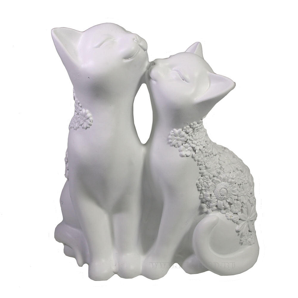 Фигура декоративная Кот и кошка (белый) L8W12,5H14 оптом