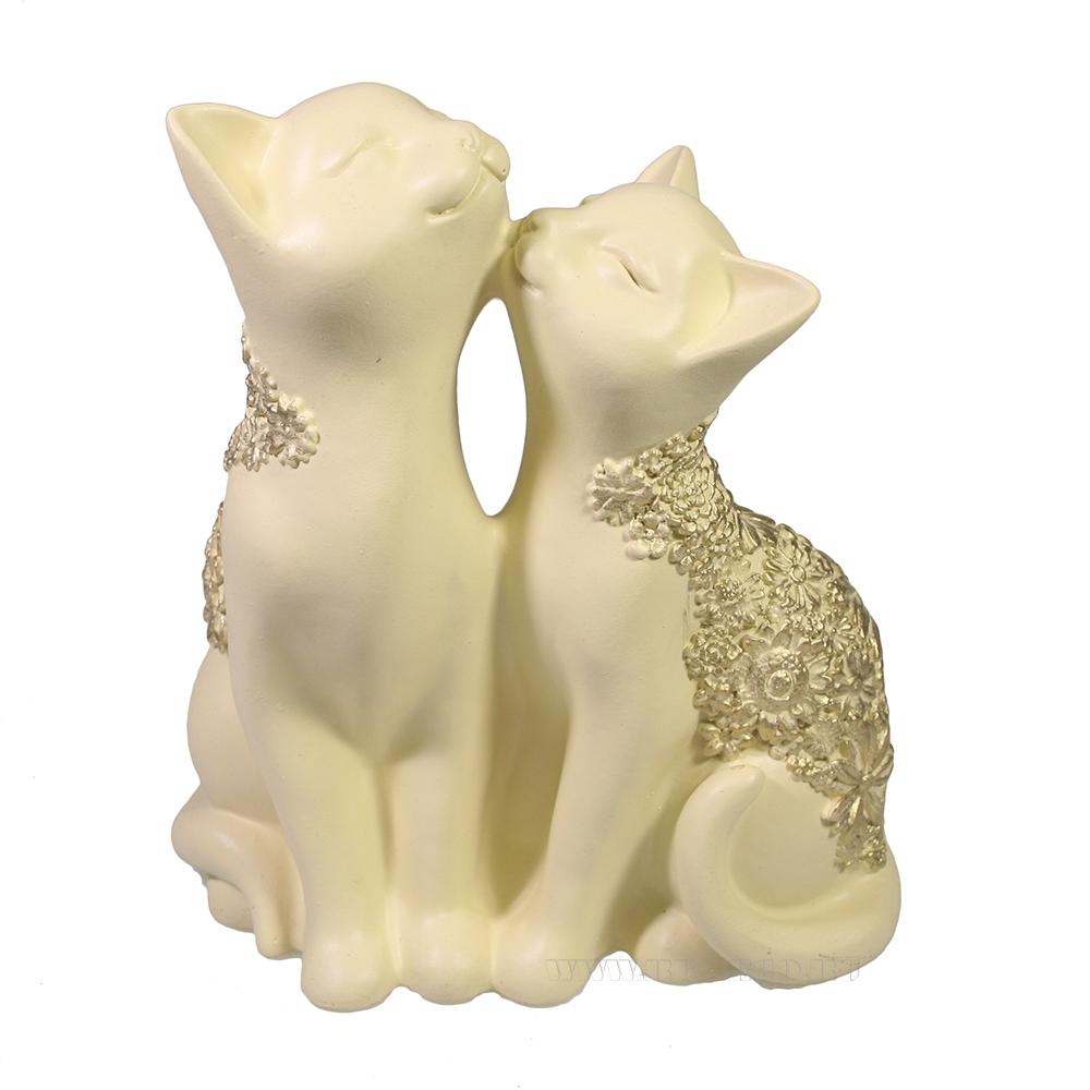 Фигура декоративная Кот и кошка (слоновая кость) L8W12,5H14 оптом
