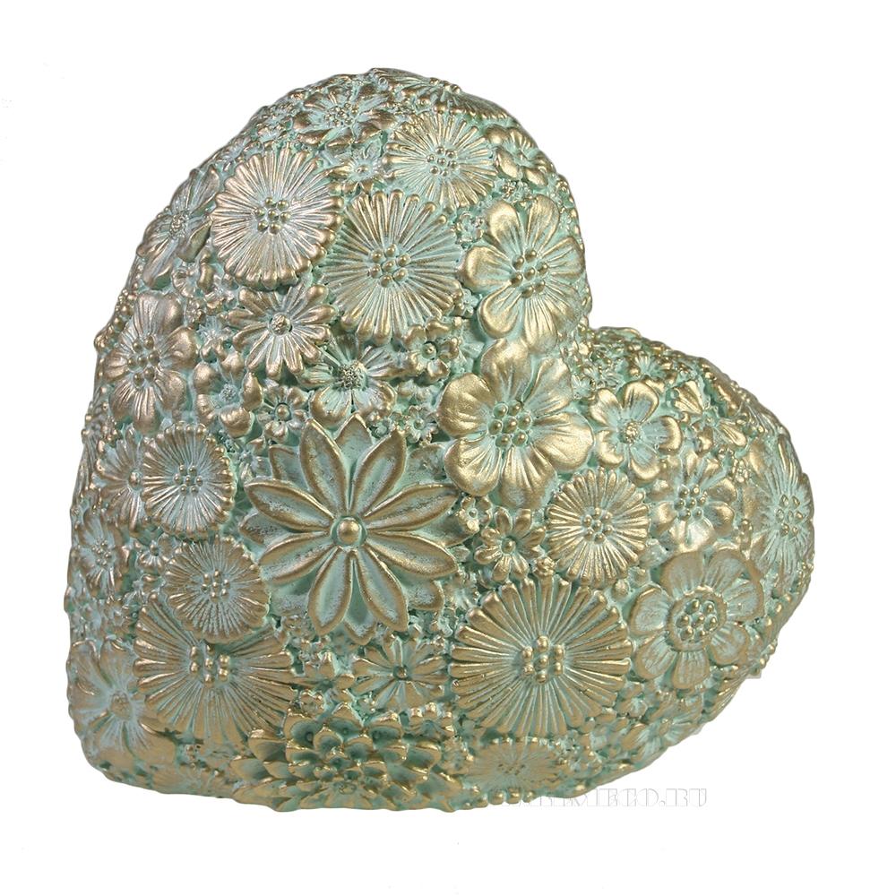 Фигура декоративная Сердце (бирюзовый) L7W14H14 оптом