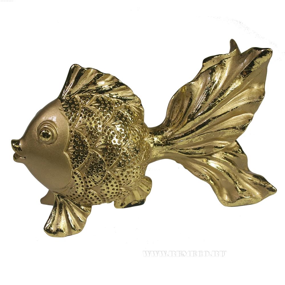 Фигура декоративная Золотая рыбка (светлое золото) L14W6,5H8,5 оптом
