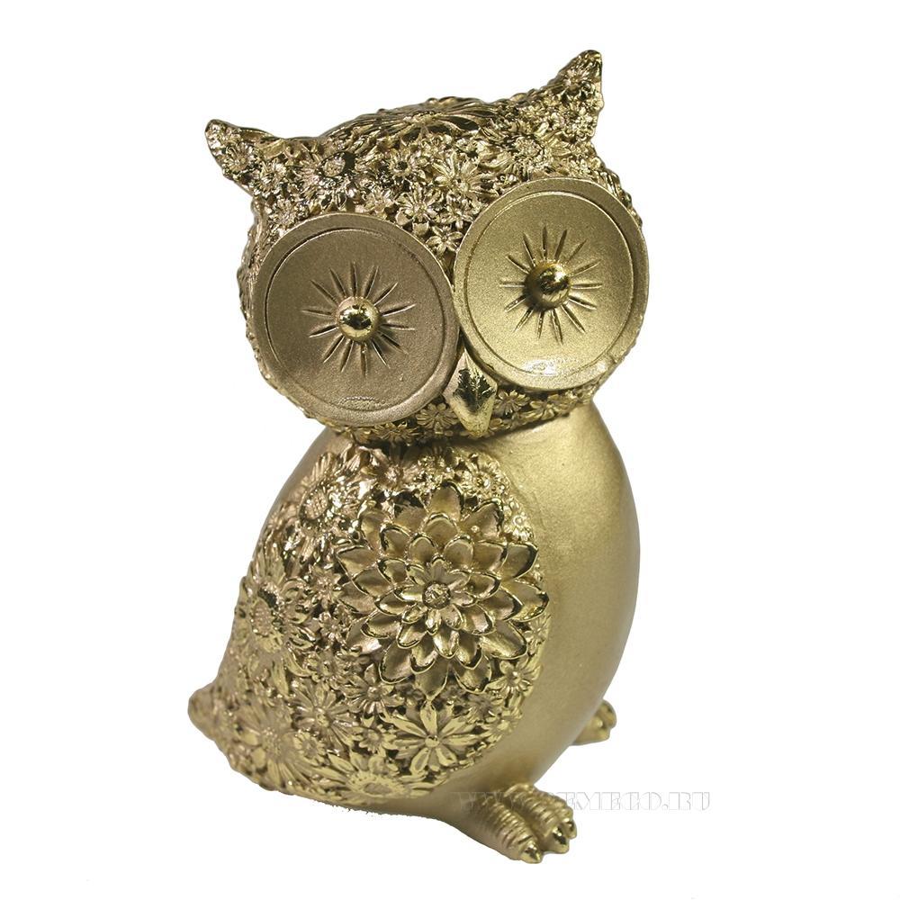 Фигура декоративная Сова (светлое золото) L9W7H13 оптом