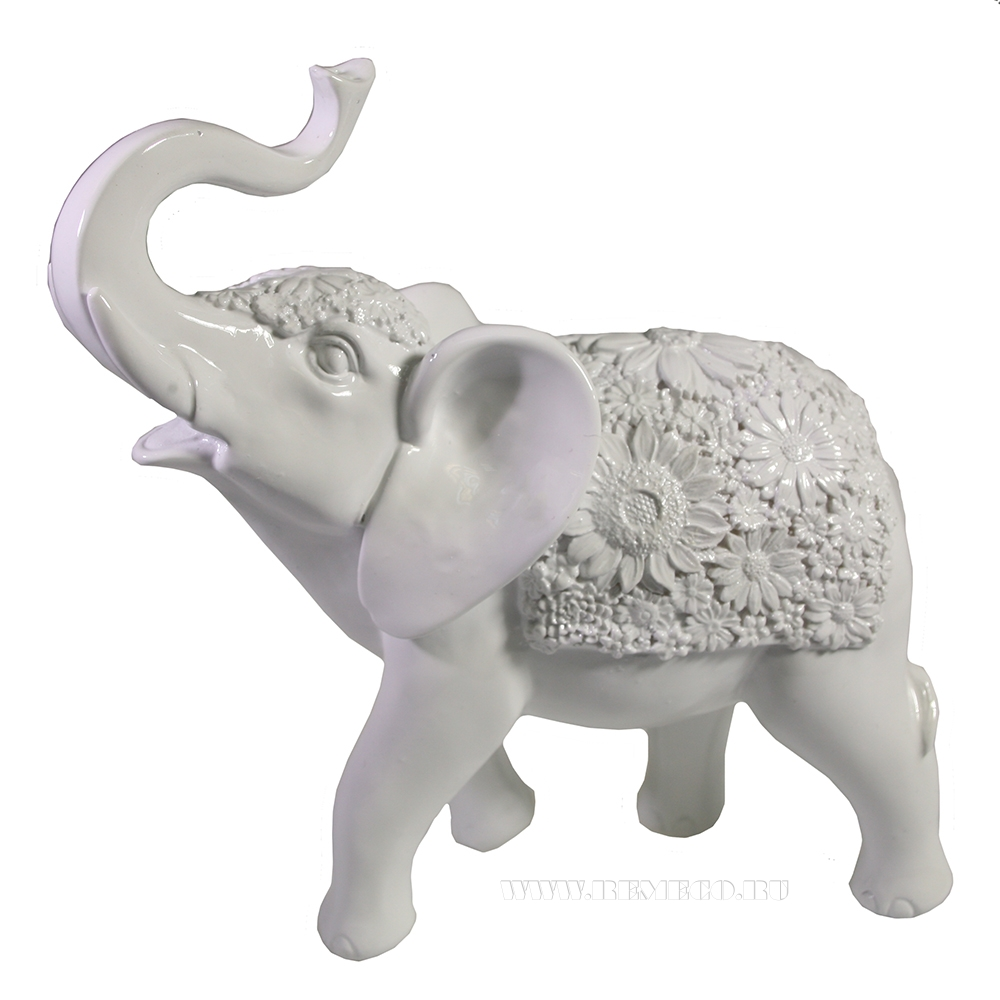 Фигура декоративная Слон (белый глянец) L19W7H20 оптом