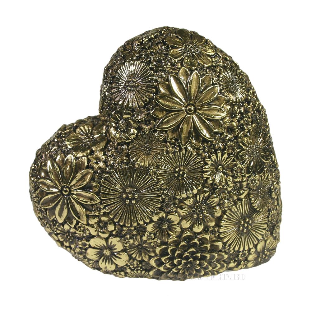 Фигура декоративная Сердце (темное золото) L7W14H14 оптом