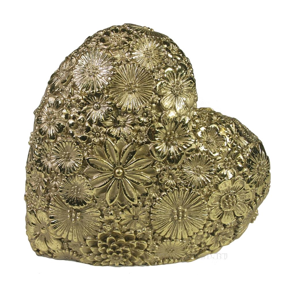 Фигура декоративная Сердце (светлое золото) L7W14H14 оптом