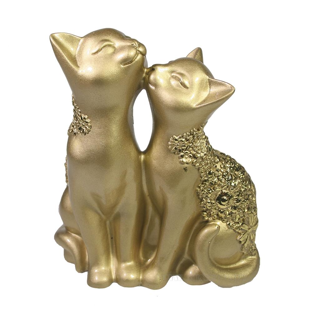 Фигура декоративная Кот и кошка (светлое золото) L8W12,5H14 оптом