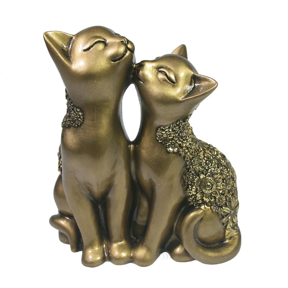 Фигура декоративная Кот и кошка (темное золото) L8W12,5H14 оптом