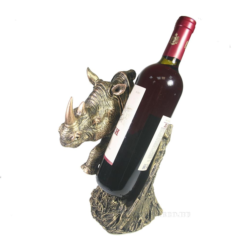 Подставка под бутылку Носорог (бронза) L16W16H25 оптом