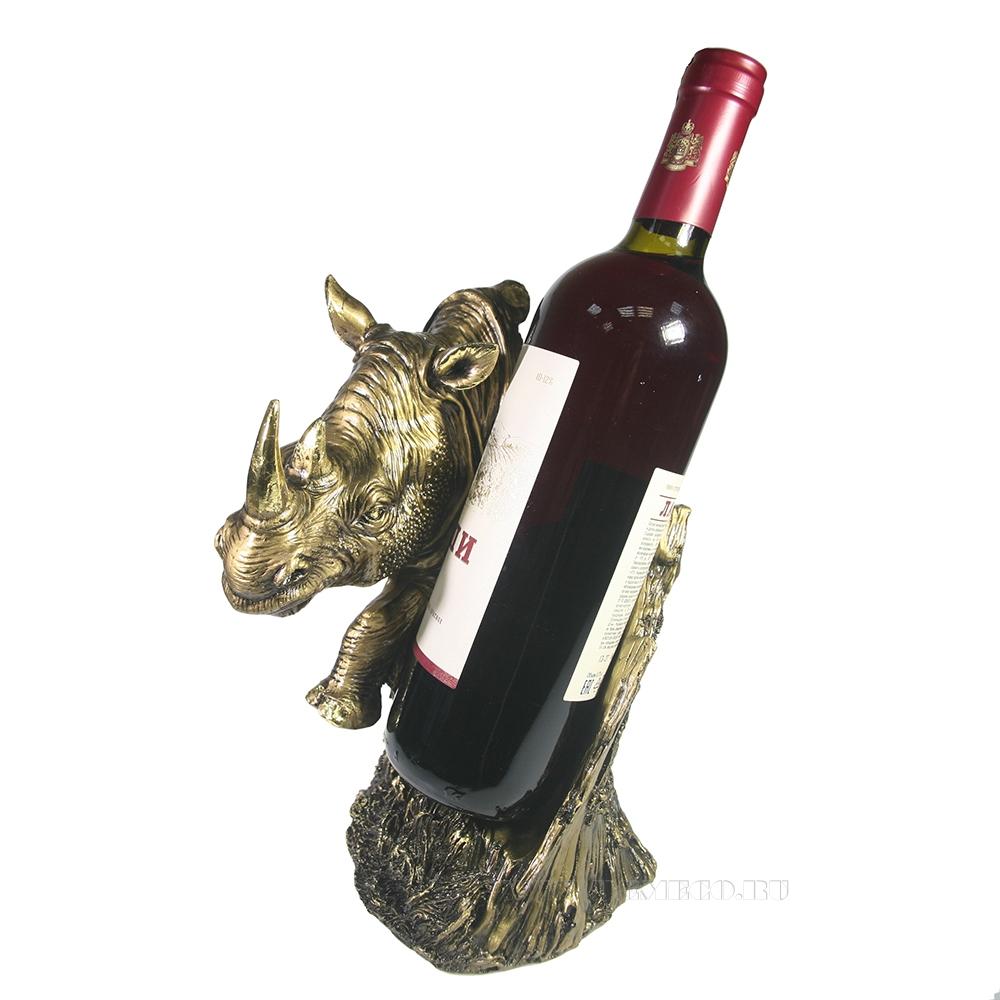 Подставка под бутылку Носорог (золото) L16W16H25 оптом