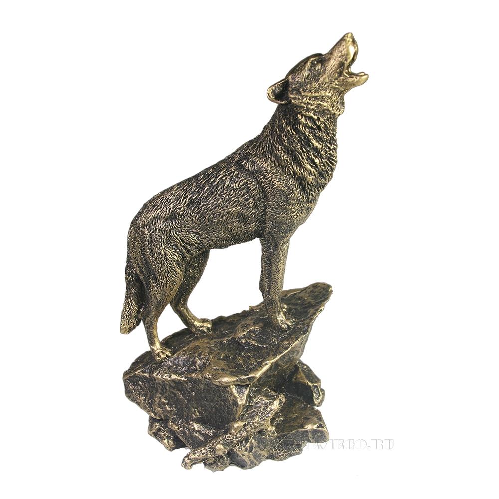 Фигура декоратиная Волк (бронза) L10W11H20 оптом