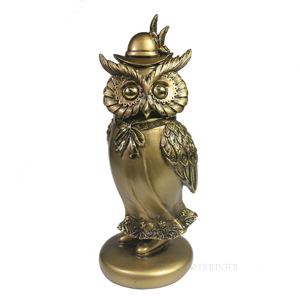Фигура декоративная Сова в шляпке (золото) оптом