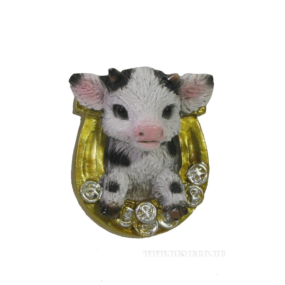 Магнит Подкова с телёнком (золото+пятно) L4W4.55H2 см оптом