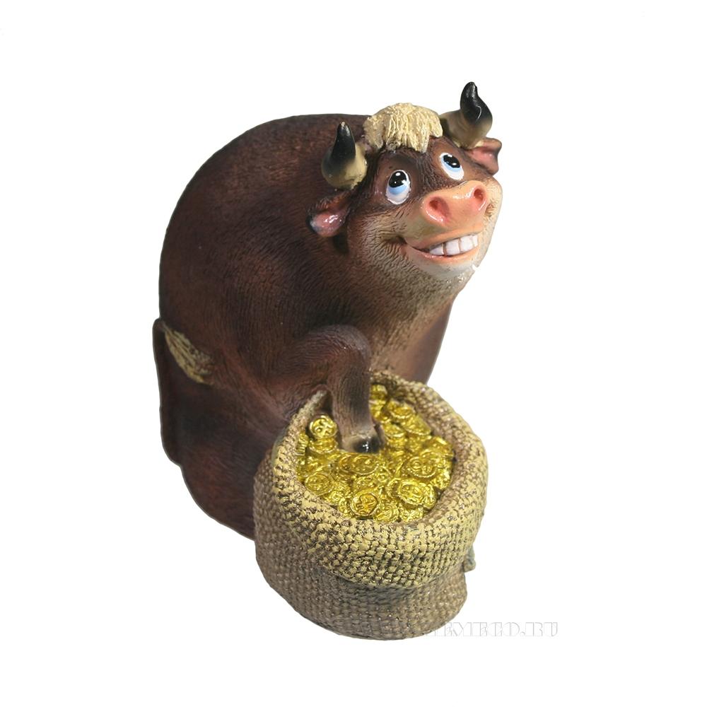 Фигура декоративная Бык с мешком монет (коричневый) L9W5H9 оптом