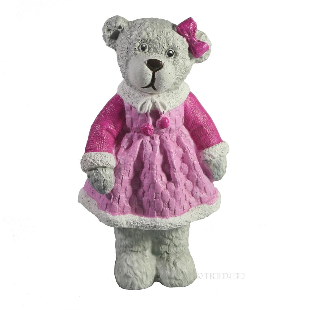 Фигура декоративная Медведь девочка L7W5,5H14 оптом