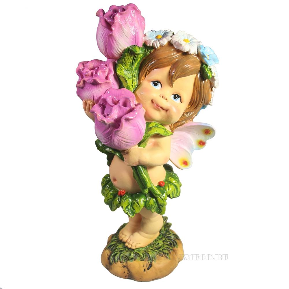Фигура декоративная Цветочная фея с тюльпанами L10W10H21 оптом