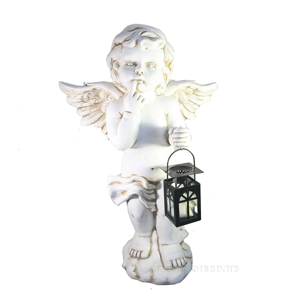 Фигура декоративная Ангел с фонарем (антик) L20W41H63 оптом