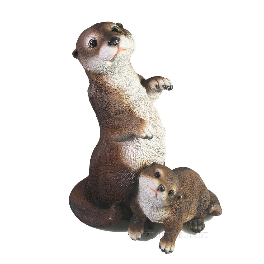 Фигура декоративная Выдра с малышом L17W12H20 см оптом