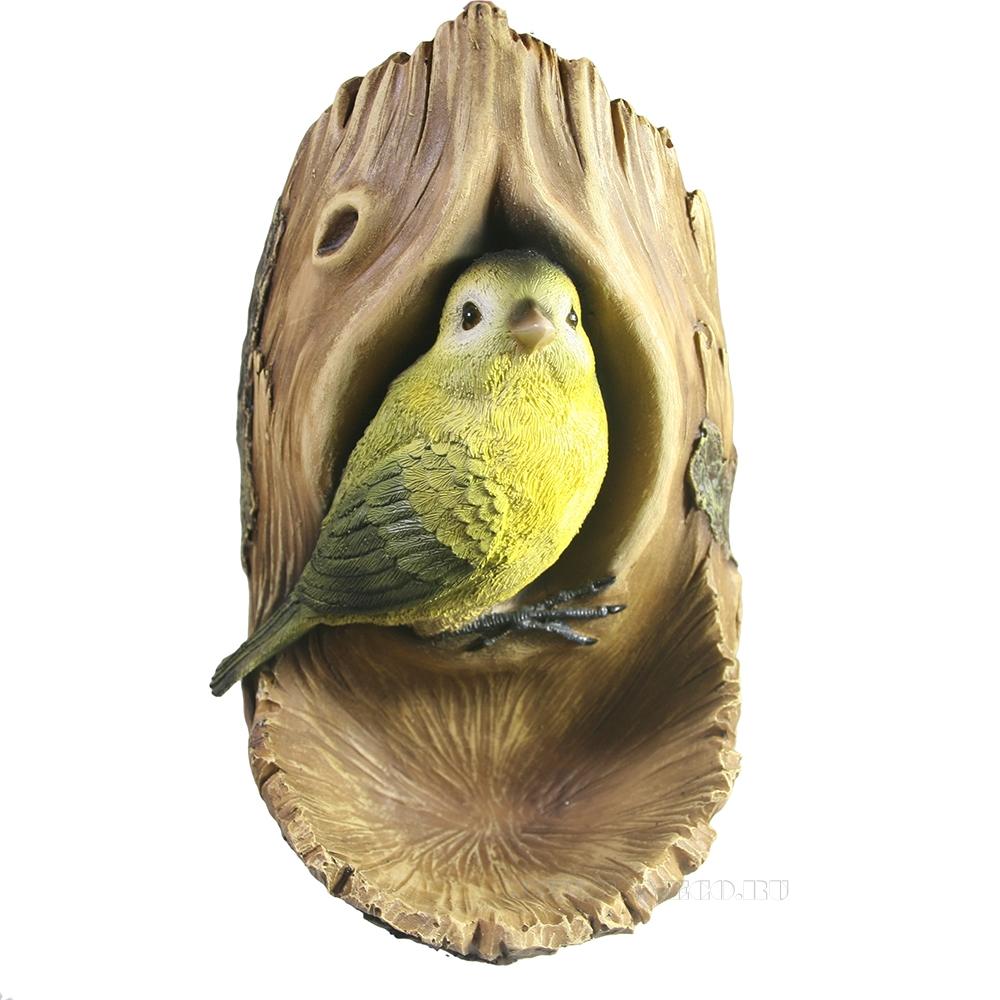 Фигура декоративная навесная Птичка в дупле L12W14H24 см оптом