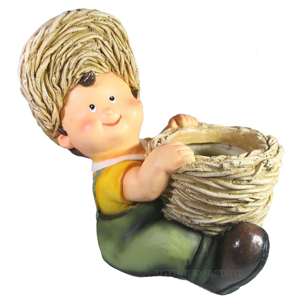Кашпо декоративное Мальчик с корзиной L27W24H28 см оптом