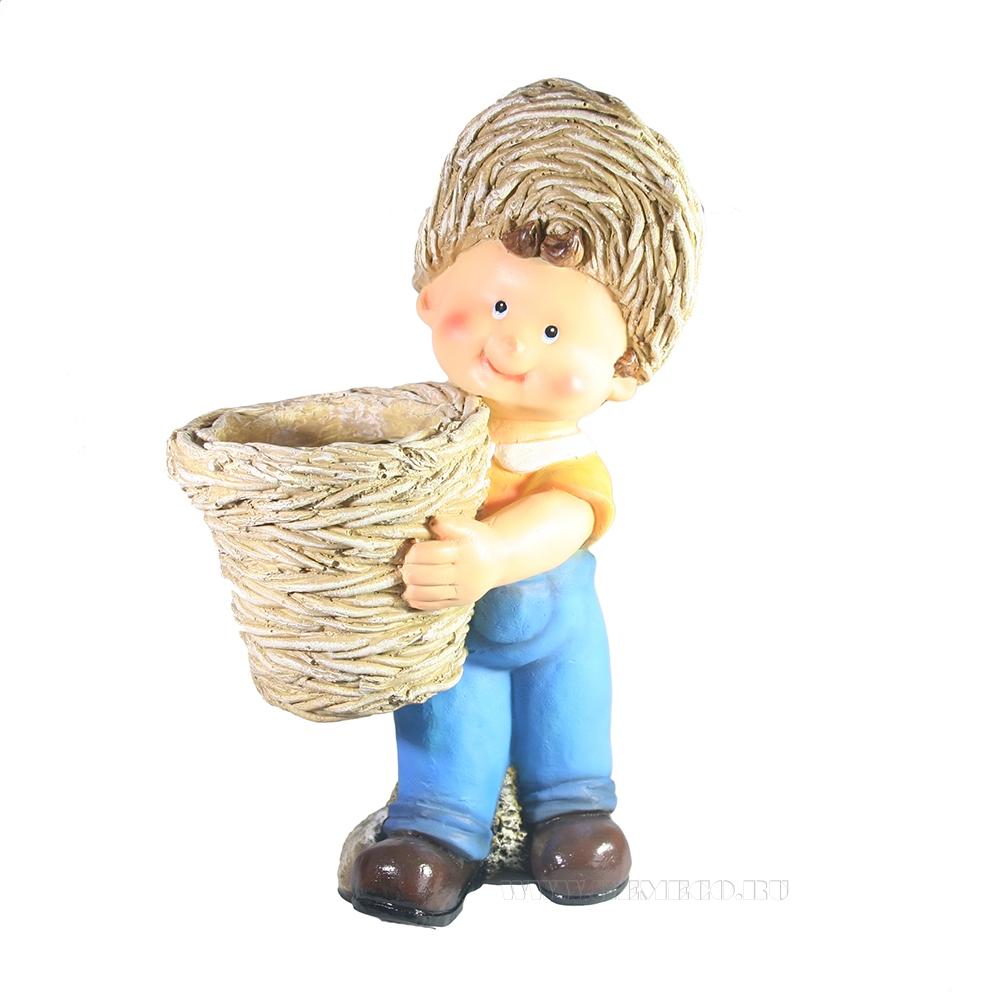 Кашпо декоративное Мальчик стоит с корзиной L24W19H38 см оптом