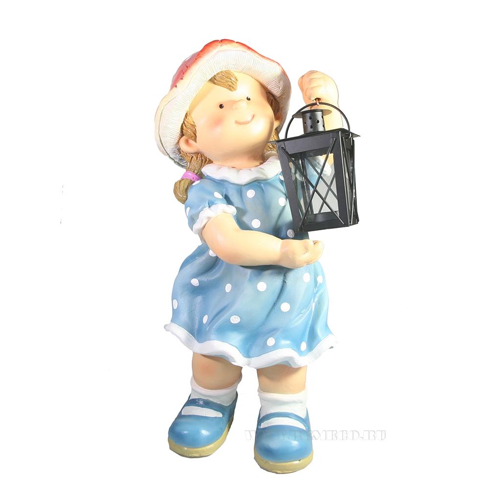 Фигура декоративная Девочка-грибочек с фонарем L18W16H44 см оптом