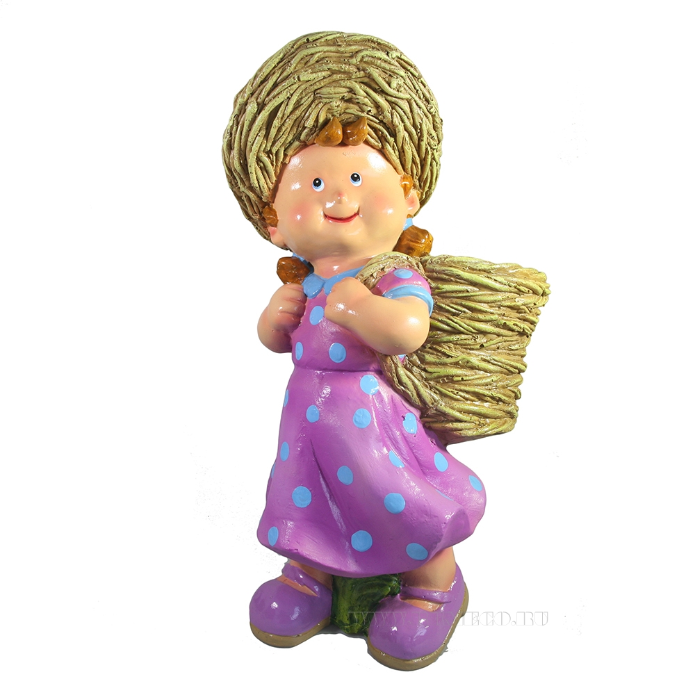 Кашпо декоративное Девочка с корзиной за спиной L22W19H41 см оптом