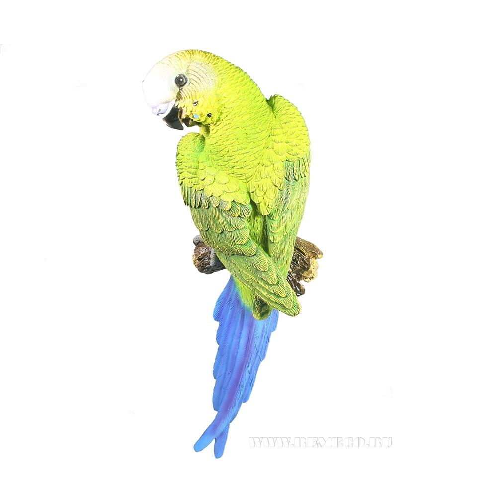 Фигура декоративная Попугай волнистый на ветке оптом
