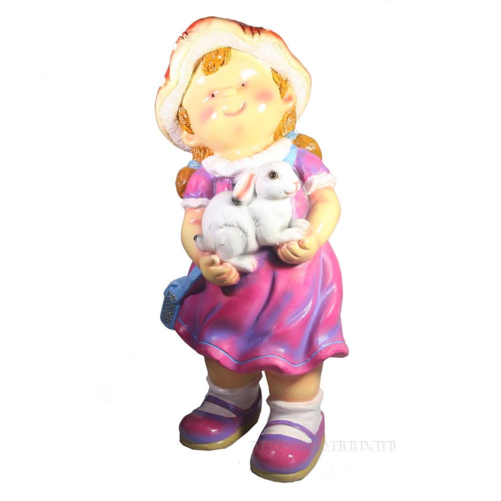Фигура декоративная Девочка с кроликом оптом