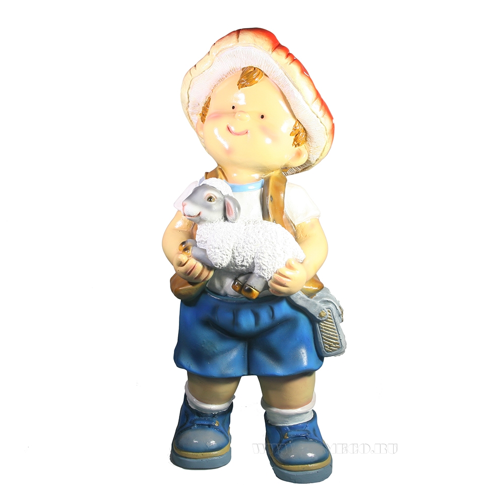 Фигура декоративная Мальчик с барашком L20W17H46 оптом