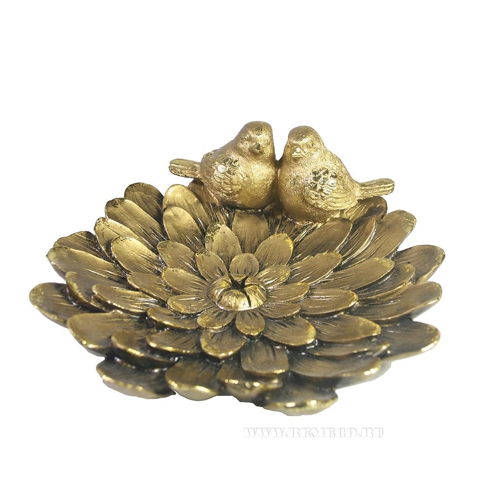 Изделие декоративное Цветок с парой птичек оптом