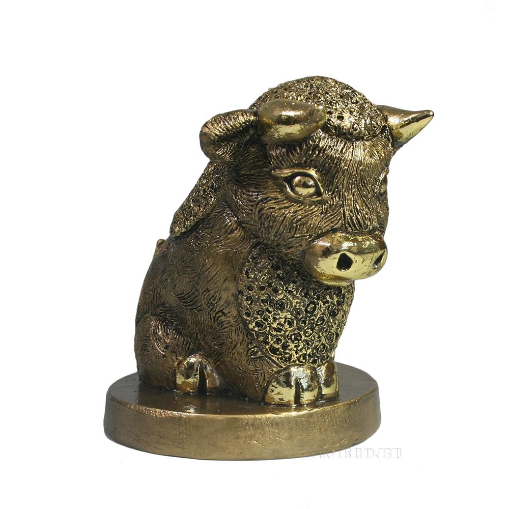Фигура декоративная Теленок кучерявый (золото) L7,5W10,5H9,5 оптом