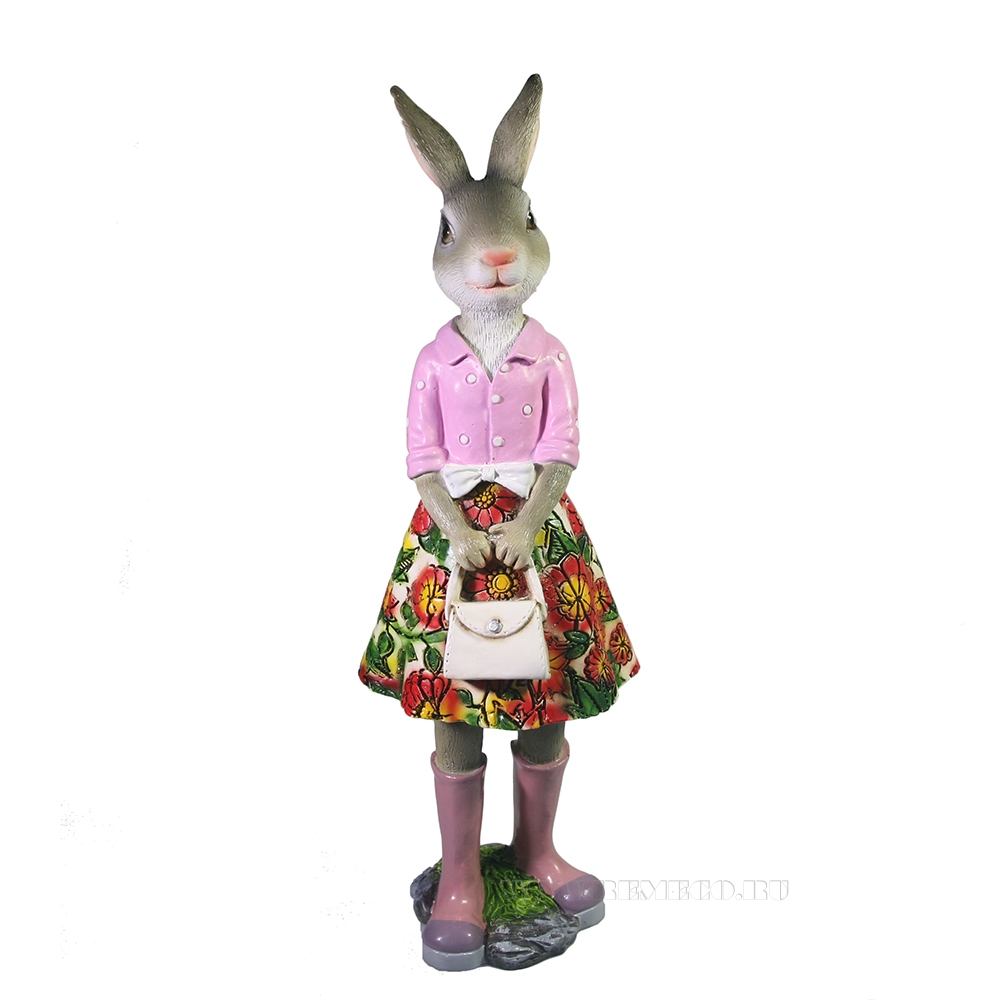 Фигура декоративная Зайка Оливия (разноцветная юбка) H26 оптом
