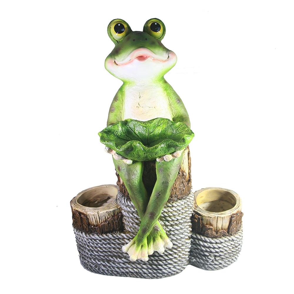 Кашпо декоративное Лягушка на бамбуке L21W40H55 оптом