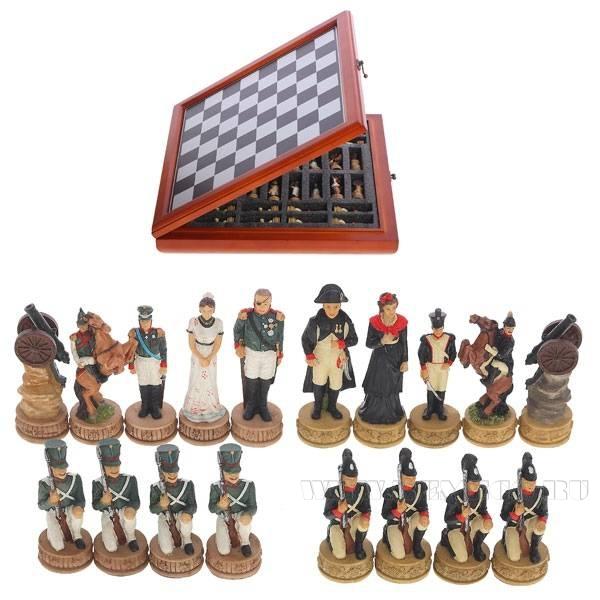 Настольная игра в кейсе Шахматы, Наполеон и Кутузов, 9 см, 40х40х6 см оптом