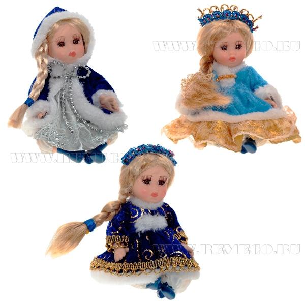 Кукла Снегурочка, 14 см, 3 в. оптом