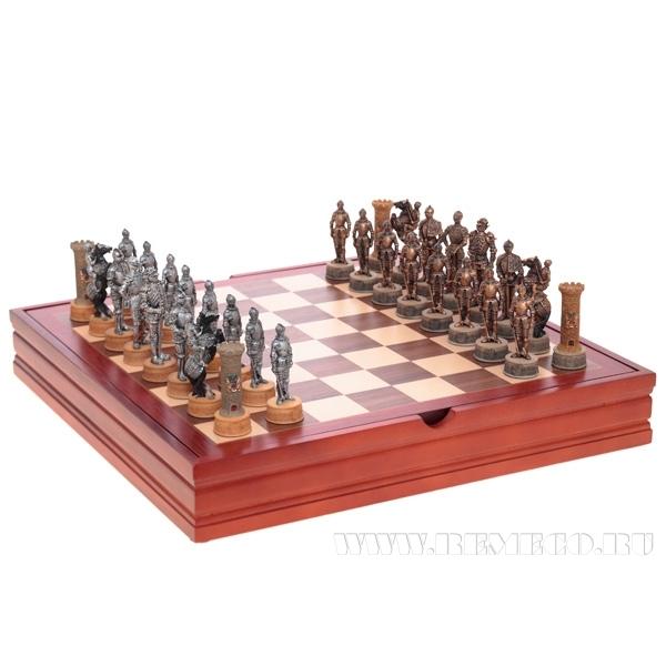 Настольная игра в шкатулке Шахматы, Рыцари, 3х3х9 см, 37х37 см оптом