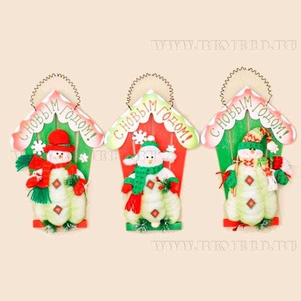 Панно Снеговик со светодиодами и музыкой, Н 41 см оптом