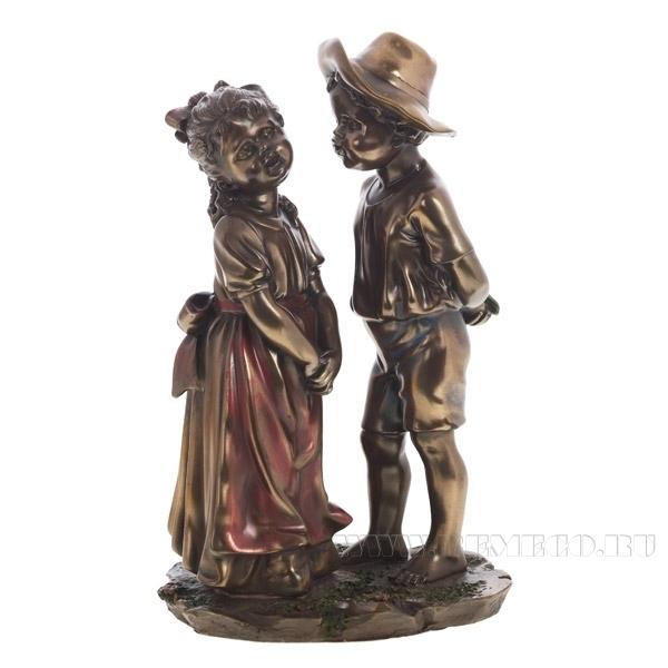 Фигурка декоративная Мальчик и девочка, 14х11х23 см оптом