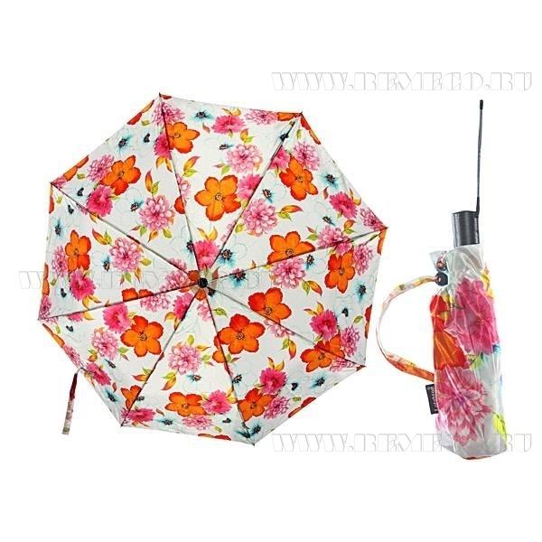 Зонт 23, полный автомат (Атласный, Цветы на белом фоне) оптом
