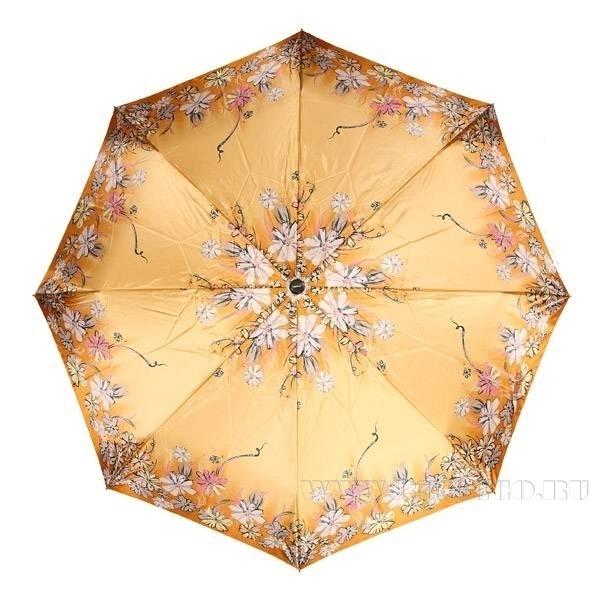 Зонт 23, полный автомат (Атласный, Цветы на золотом фоне) оптом