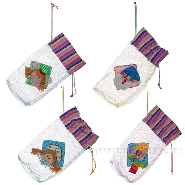 Мешок для конфет Санта, Снеговик, Ангел, Снегурочка, 25х11 см, 4 в. оптом