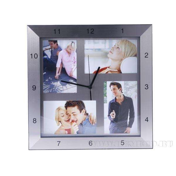 Часы с фоторамкой для 4 фотографий (10х15 см), 33х33х4 см оптом