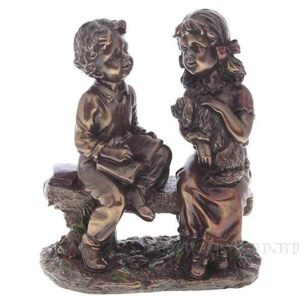 Фигурка декоративная Мальчик и девочка, 16х10х18 см оптом