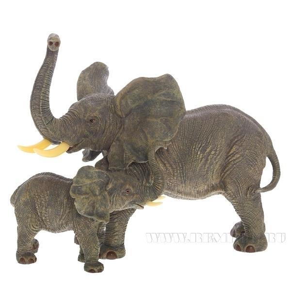 Фигурка декоративная Слоны, L46 W26 H37 см оптом