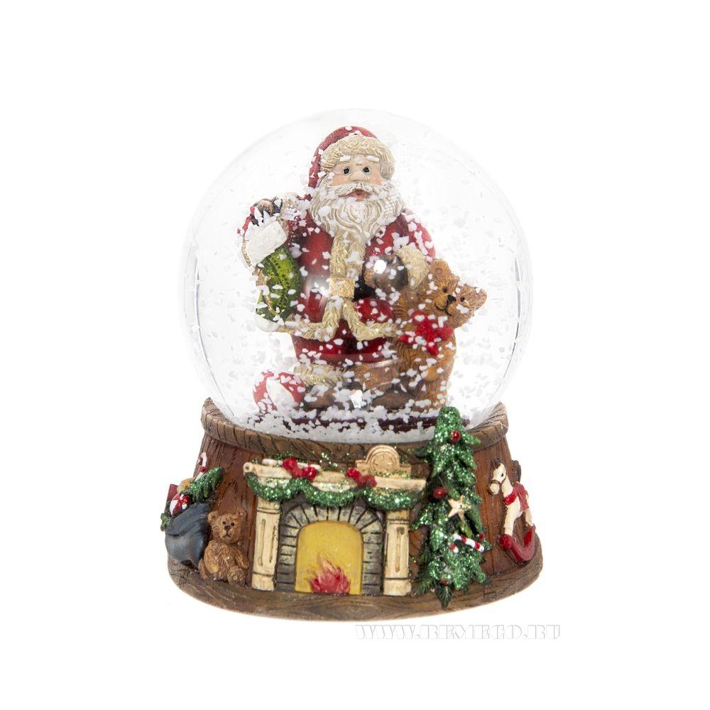 Фигурка декоративная в стеклянном шаре Санта, 4в., L8 W8 H9 см оптом