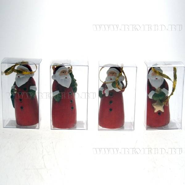 Новогоднее украшение Санта, 24в., L4 W3 H9см. Дисплей, 24 шт. оптом