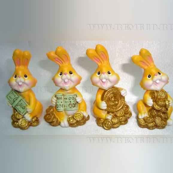 Фигурка декоративная «Заяц», L3,5 W2,5 H5 см, 4 в оптом