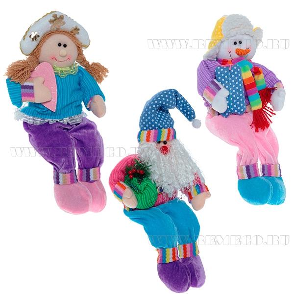 Игрушка мягконабивная Санта, Снеговик, Снегурочка, Н 43 см, 3 в. оптом