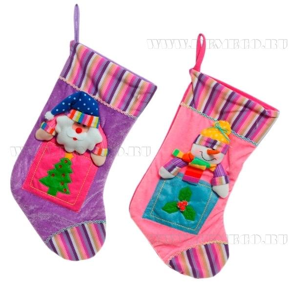Носок для подарков Санта, Снеговик, Н 46 см, 2 в. оптом