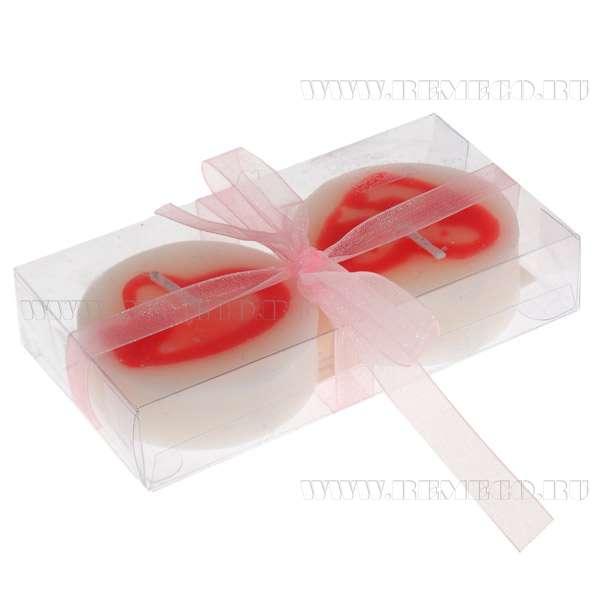 Набор из 2 свечей Сердце в подарочной упаковке, 13х6х2 см оптом