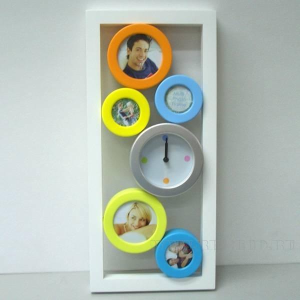 Композиция Время с фоторамкой для 5 фото (5х5 (3), 9x9 (2) см), 42х19х4 см оптом